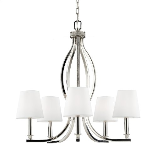 5 - Light Crystal Inlay Chandelier Polished Nickel