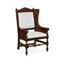 Jacobean Style Dark Oak Wing Chair