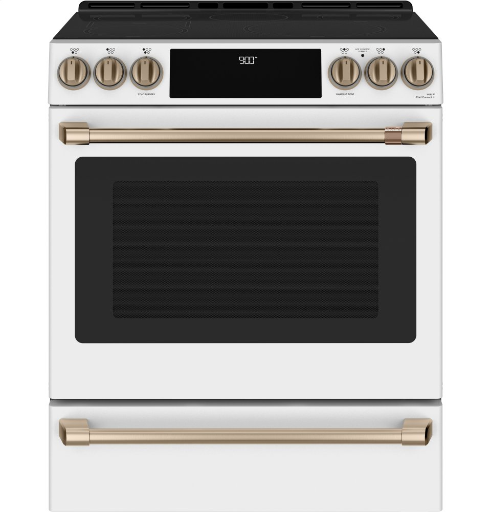 "Caf(eback) 30"" Smart Slide-In, Front-Control, Induction and Convection Range with Warming Drawer