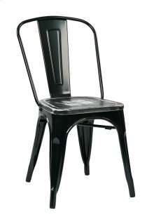 Bristow Metal Chair With Vintage Wood Seat, Black Finish Frame & Ash Crazy Horse Finish Seat, 2 Pack