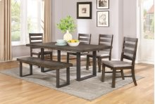 6 Piece Dining Set (Table, 4 Chairs and Bench)