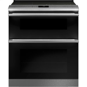 "Cafe Appliances30"" Smart Slide-In, Front-Control, Radiant and Convection Double-Oven Range in Platinum Glass"