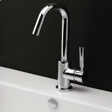 "Deck-mount single-hole faucet with a goose-neck swiveling spout, one lever handle, and a pop-up drain. 5 1/4"" spout projection."