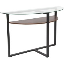 Princeton Collection Glass Console Table with Rustic Oak Wood Finish and Black Metal Legs