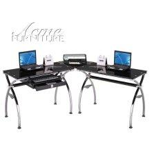 Kayce Chrome Metal & Black Tempered Glass Finish Computer Desk Set
