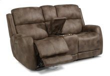 Zelda Fabric Power Reclining Loveseat with Console and Power Headrests