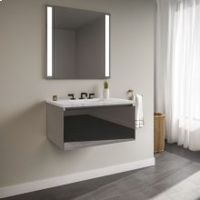 """Curated Cartesian 24"""" X 15"""" X 21"""" Single Drawer Vanity In Tinted Gray Mirror Glass With Slow-close Plumbing Drawer and Engineered Stone 25"""" Vanity Top In Silestone Lyra"""
