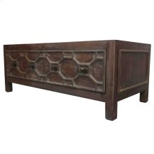 Silvestro Distressed Coffee Table 2 Drawers, Antique Brown