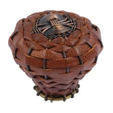 Hamptons Saddle Leather Knob 2 Inch - Aged Bronze