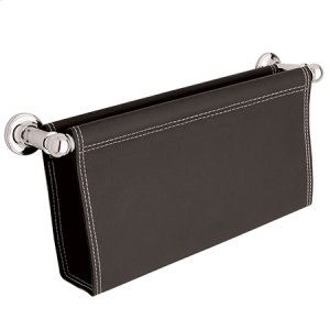Polished-Chrome Magazine Rack, Brown Leather Product Image
