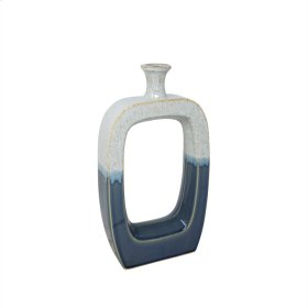 "Ceramic 14.25"" Vase W/cutout White/blue"
