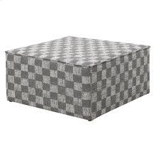 Cocktail Ottoman-gray Plaid #s17165a-1