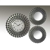 ANTIQUE SILVER 3PC. CLOCK AND MIRROR SET Product Image