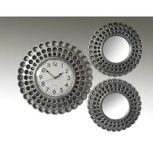 ANTIQUE SILVER 3PC. CLOCK AND MIRROR SET