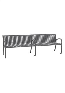 District 8' Bench with Back and Arms, Vertical Slat