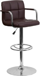 Contemporary Brown Quilted Vinyl Adjustable Height Barstool with Arms and Chrome Base Product Image