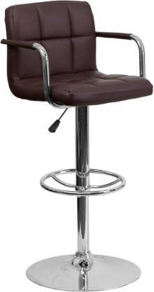 Contemporary Brown Quilted Vinyl Adjustable Height Barstool with Arms and Chrome Base