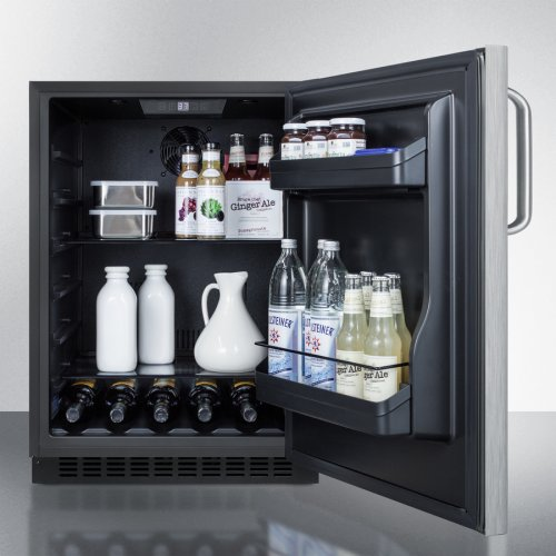 Built-in Undercounter ADA Compliant All-refrigerator With Wrapped Stainless Steel Door, Towel Bar Handle, Black Cabinet, Door Storage, and Digital Controls