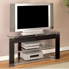 "Black & ""Glossy Silver"" TV Stand"