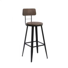 Modrest Jennings Modern Brown Wood Bar Stool