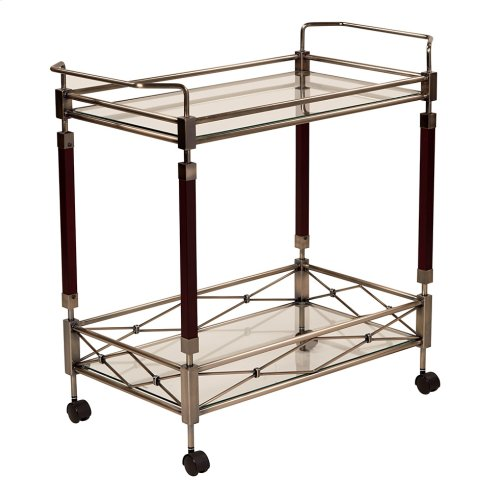 Melrose Serving Cart With Antique Brass Metal Finish.