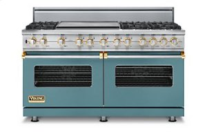 "60"" Custom Sealed Burner Dual Fuel Range, Natural Gas, Brass Accent"