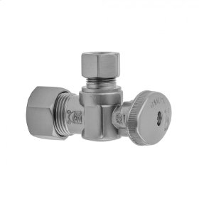 """Polished Brass - Quarter Turn Angle Pattern 5/8"""" O.D. Compression (FITS 1/2"""" Copper) x 3/8"""" O.D. Supply Valve with Oval Handle"""