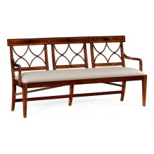 Three Seater Regency Mahogany Bench, Upholstered in MAZO