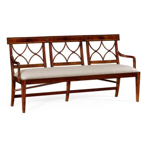 Three Seater Regency Mahogany Bench, Upholstered in MAZO