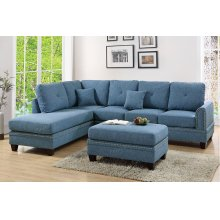 Blue Reversible Chaise Sectional with Ottoman Included