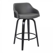 """Alec Contemporary 26"""" Counter Height Swivel Barstool in Black Brush Wood Finish and Grey Faux Leather"""