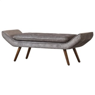 Newcastle KD Fabric Tufted Bench, Tweed Gray