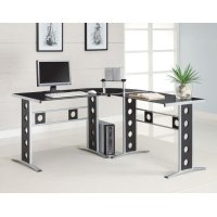 Casual Black and Silver Computer Desk Product Image