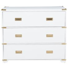 White Md-Cntry Drawer Chst w/Metal Acnts