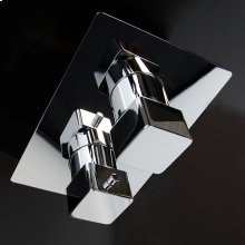 Built in thermostatic valve with volume control valve, two way diverter and rectangular backplate.
