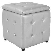 Pouf Square Ottoman - Black Wood, Silver Pu