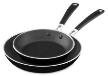"Aluminum Nonstick 8"" and 10"" Skillets Twin Pack - Onyx Black"