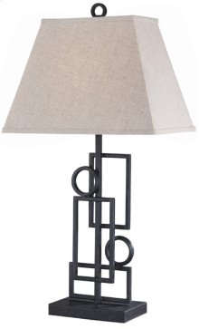 Wrought Iron Table Lamp, Dark Bronze/linen Shade, A 150w