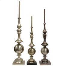 Refinement  Set of Three Accent Decorative Finials  Metal and Glass Material
