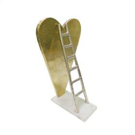 Gold Heart W/ Silver Ladder Sculpture