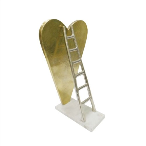 Gold Heart W/ Silver Ladder Sculpture