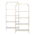 "Silver Leaf Etagere With Clear Glass Shelves Top Shelf 21.5"" H Remaining Shelves 17.5"" H Product Image"