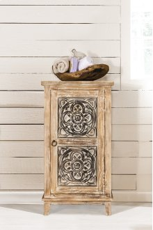 Toulon Cabinet - Distressed Dark Beige