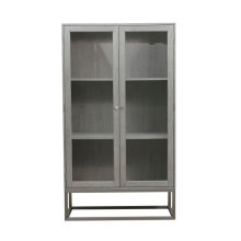 Modern 2 Shelf Display Cabinet in Grey Oak