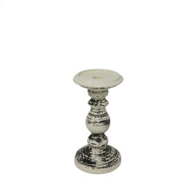 "Ceramic Candle Holder 8"", Black/white"