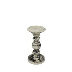 "Ceramic Candle Holder 8"", Black/white"