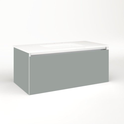 "Cartesian 36-1/8"" X 15"" X 18-3/4"" Single Drawer Vanity In Matte Gray With Slow-close Plumbing Drawer and Night Light In 5000k Temperature (cool Light)"
