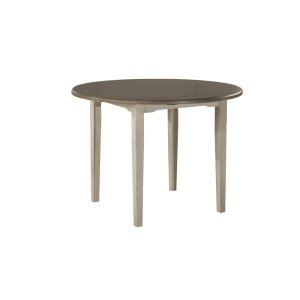 Hillsdale FurnitureClarion Round Drop Leaf Dining Table With Straight Legs - Distressed Gray Top With Sea White Base