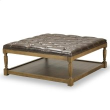 Lucerne Tufted Leather Cocktail Ottoman - Shalimar Cocoa