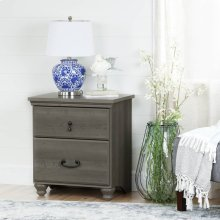 2-Drawer Nightstand - End Table with Storage - Gray Maple